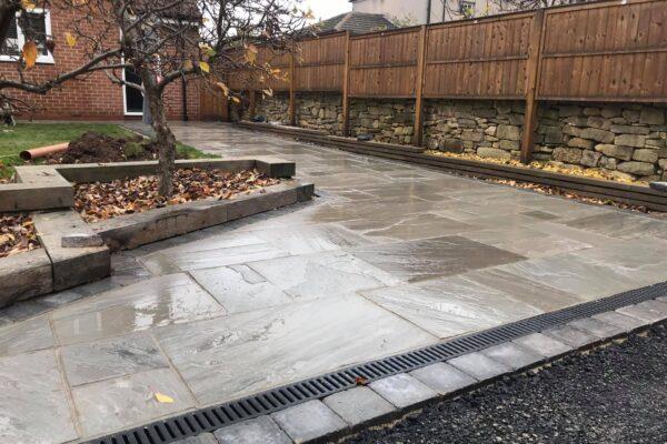 A modern stone patio