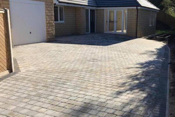 Modern stone paved driveway